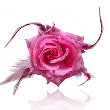 Wedding Feather Rose Bridesmaid hand Wrist flower Bride Flowers For Party Decoration Bridal Hair Clips  Corsage Hair Accessories