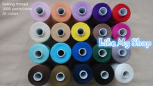 free shipping 1000 yards polyester sewing thread machine/hand sewing thread high strength for any sewing machine(China)