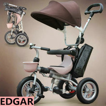 solid wheel airless tires baby walker, fold child tricycle, one button to fold, child walker, adjust handle bar and pedal