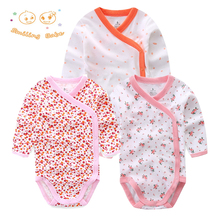 Smiling Babe 3 PCS/lot Fashion Baby Bodysuits Infant Jumpsuit Long Sleeve Baby Clothing Set Summer Christmas Baby Girl Clothes(China)