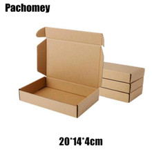 10pcs/lot 20*14*4cm Kraft Paper Bags Recyclable Gift Jewelry Food Bread Candy Packaging Shopping Party Package Mailing Box PP766(China)