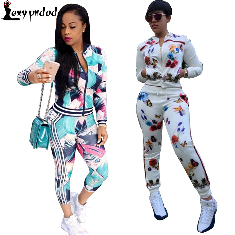 2016 Autumn New Fashion Print 2 Piece Set Women Casual Sexy Women Jacket Long Sleeve Two Piece Tracksuits Chandal mujer completo