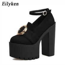 Eilyken Fashion Buckle Women Shoes Platform 2018 Spring Rubber Sole Non-slip Square heel Pumps Female Dress Party Shoes Black(China)