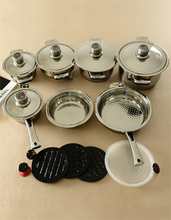 Free Shipping Top Quality Cooking Tools 17PC Stainless Steel Cookware Set Ollas Cocina+Panelas+Milk Pot+Steamer+Dishes