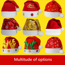 Cheap-christmas-ornament Christmas Hat Caps antler Santa Claus Father Xmas Cotton velvet Christmas Decoration noel natal navidad