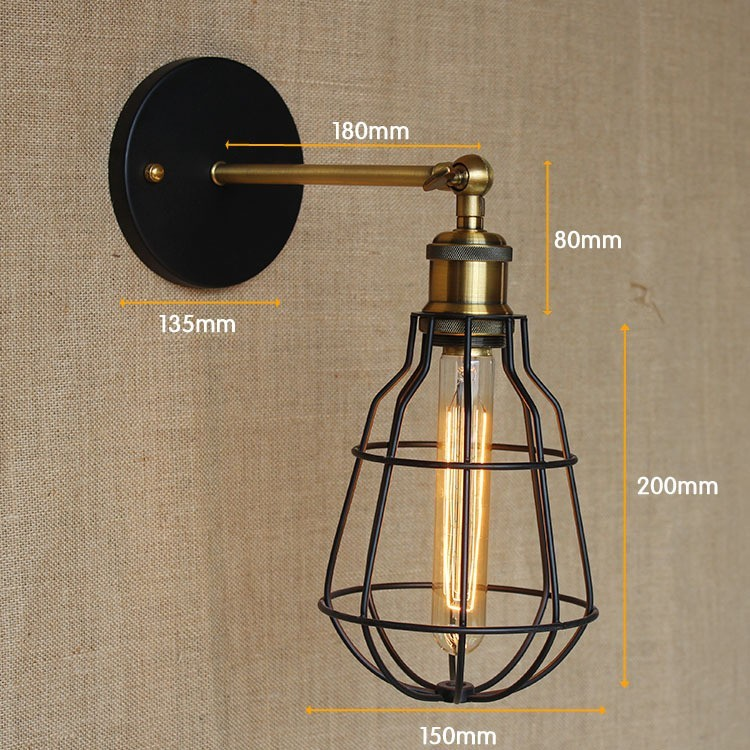 Vintage Wall Light Loft Industrial Country Retro Iron Wall Light fitting E27 Edison Bulbs AC 90-260V wall sconce Lights for Home<br><br>Aliexpress