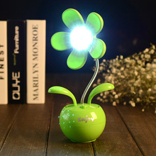 Apple Flower LED Small Book Lights Rechargeable USB Small Lamp Plastic Sun Flower Lantern Button Type Desktop Decorative Lights