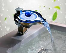 New arrival top high quality bathroom hot and cold basin LED faucet waterfall mixer not need electricity(China)