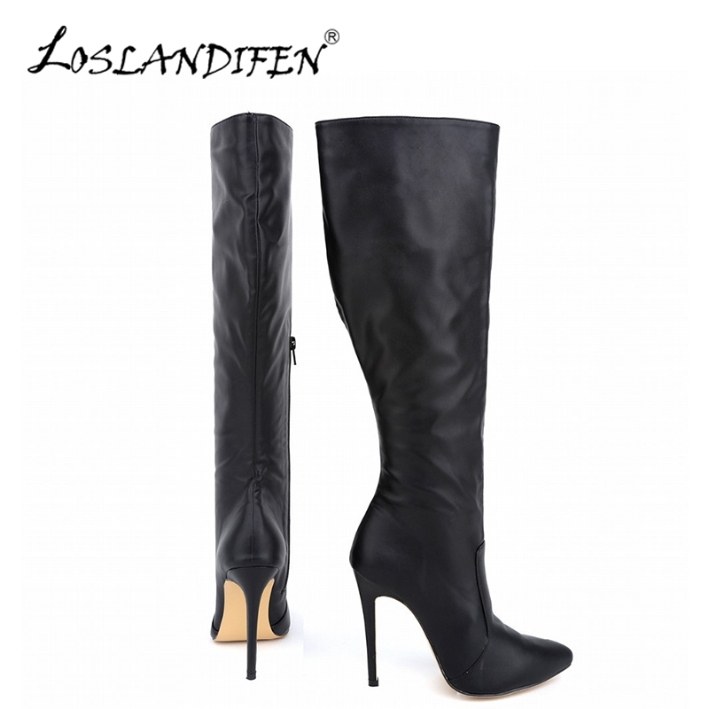 LOSLANDIFEN Womens Winter Boots Fashion Pointed Matte Plush Knee-High Boot Wide Calf High Heels Woman Snow Warm Shoes 769-3MA<br>