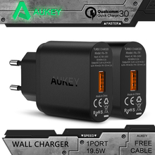 AUKEY Quick Charge 3.0 USB Fast Charger EU/US Wall Travel Charger For iPhone Samsung galaxy s8 Xiaomi mi5 6 redmi 4x