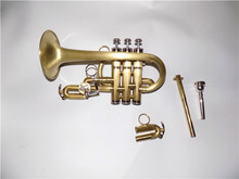 Bb/A Piccolo Trumpet Brush Finish Yellow Brass Body with case musical instruments professional(China)
