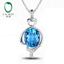 CaiMao 18KT/750 White Gold 6.39 ct Natural IF Blue Topaz & 0.09 ct Round Cut Diamond Engagement Gemstone Pendant Jewelry(China)