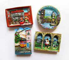 World travel fridge paste Italy Spain Nordic Portugal stereo resin refrigerator stickers