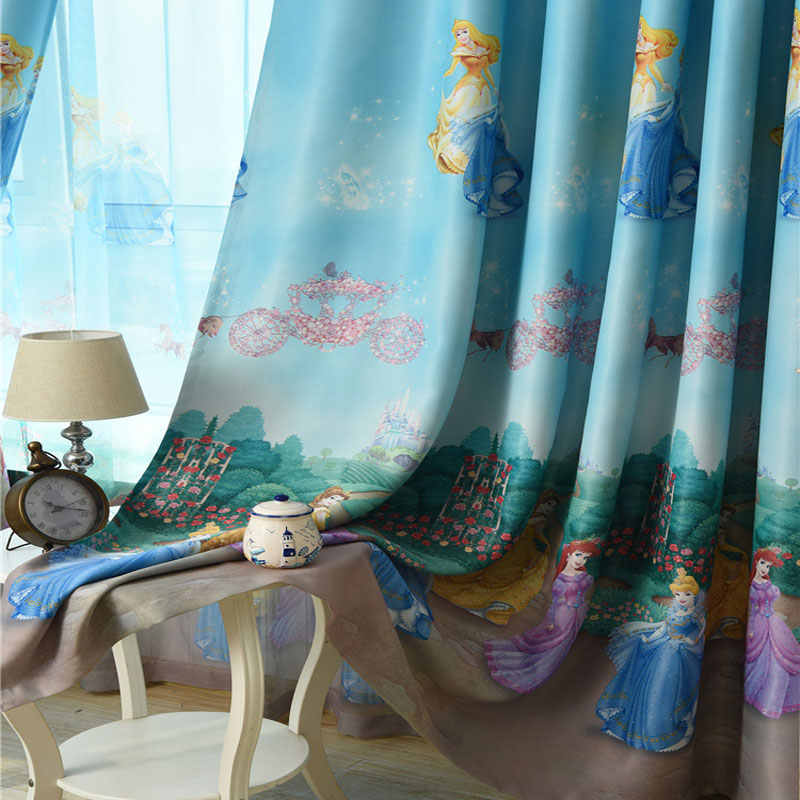 Cartoon Window Decoration For Kids Bedroom Cute Princess Blackout Finished Curtain Fabric Tulle For Baby Girls Room