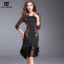 New Arrival 2017 Autumn Women's O Neck Long Lace Sleeves Embroidery Floral Patchwork Fashion Hi Low Dresses