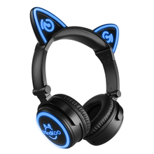 2017 100% Brand New Mindkoo Wireless Bluetooth Cat Ear Headphone Portable Foldable Stunning Lights Headphones for Smartphone(China)