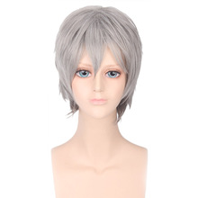 Shumeier 8Colors 30cm Unisex Men&Women Short Curly Gray Synthetic Hair Cosplay Wigs