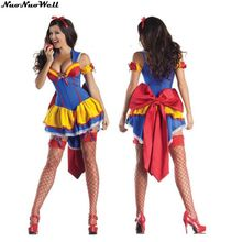 Beautiful Snow White Costume Custom Made Adult Halloween Princess Snow White Cosplay Short Dress with a big Bowknot on the Back