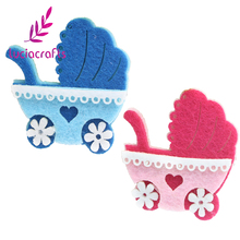 Lucia Crafts 4pcs/12pcs Blue,Pink Patch Hand Sew-On Sewing Clothes Baby Carriage Motifs Garment Patchs DIY Accessory 14010411(China)
