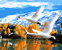 DIY oil painting flying wild geese paste acrylic paint, digital painting, home living room decoration unique gift animal