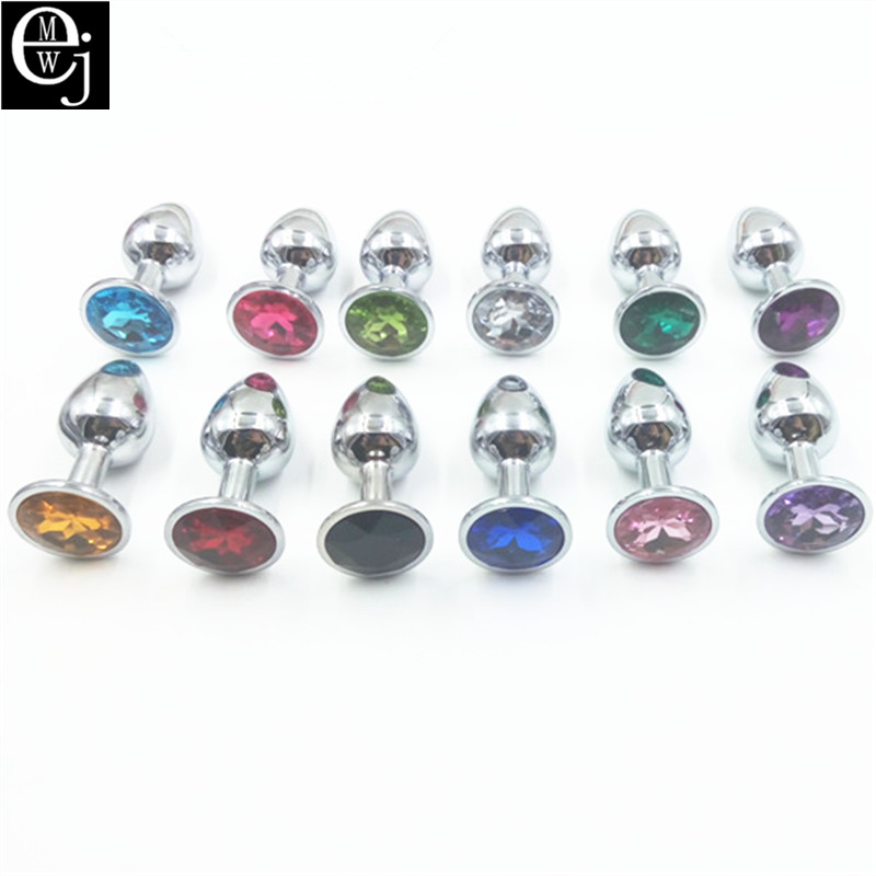 EJMW Small Stainless Steel Metal Anal Plug Sex Product Couple Different Color Gem Butt Plug Women ELDJ44