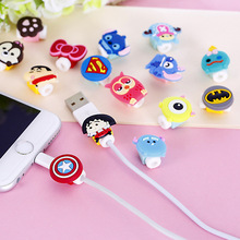 1PCS Cartoon USB Cable Earphone headphones line Protector For iPhone 5 S SE 6 6S plus 7 plus charging line data cable protection(China)