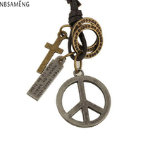 Antique Vintage Cross Dog Tag Hollow Peace Symbol Pendant Necklace Men Long Brown Leather Necklace Cord Men Accessories YK5011(China)