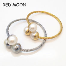 Fashion Double Imitation Pearl Bangles Italina Women Gold Color White Round Beads Bracelet Female Gift Cuff