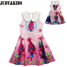 Trolls Children clothes kid girls dress teenage party Princess dresses new brand designer cartoon clothing Trolls poppy Costume(China)