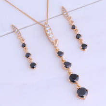 Special Black Imitation Onyx & Cubic Zirconia Yellow Gold Color Long Drop Earring / Pendant Jewelry Sets for Women X0171