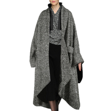 Recommended Goods Asymmetric Long Women's Woolen Coat Winter 2016 New Fashion Plaid Loose Winter's Wool Jackets For Women F622