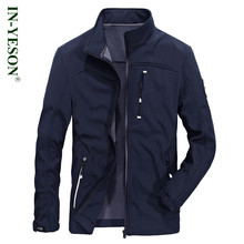 INYESON Brand Men's Jacket High Quality Stand Collar Militar Fleece Softshell Jacket Coat Men Blue Grey Army Color Cardigan(China)