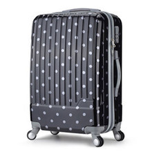 KUNDUI 2016 Polka dot ABS+PC trolley men women suitcase universal wheels rolling travel luggage bag 20 24 28 inch valiz bags