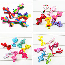 10 Pcs/ lot Candy Color Knitted Mini Bow Hairpins Kids Girls' adorable Hair Clips accessories