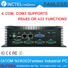 Low power fanless industrial computer with 6 RS232 COM2 supports RS485 422 function Intel atom N2800 processor 2 Gigabit Lan