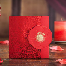 20pcs/set Hollow Laser Cut Red Rose Flower Wedding Invitation Cards Privated Custom Casamento & Envelopes Seals Party Suppliers(China)