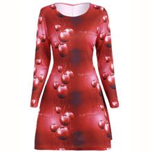 Best Selling Fashion  Women Long Sleeve Santa Claus Printing Christmas Party Dress womens clothing vestido de festa ropa mujer