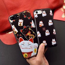 Luxury Cute Japane Cartoon Cherry Flower cat cover for iphone 6 6s plus 7 7plus Fashion New year lovely Good Luck cat phone case