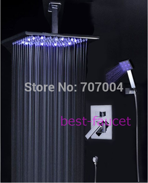 12 Ceiling Mounted Overhead Square Rain Shower Faucet Set Mixer Chrome Finish<br><br>Aliexpress