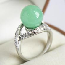 elegant lady's silver plated with crystal decorated &12mm light green jades  ring(#7 8 9 10)