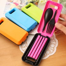 1 Set Three-Pieces Travel Picnic Tableware foldable Fork Portable Plastic Picnic Necessity Kit