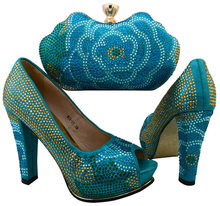 Newest Italy Summer Shoes And Bag To Match Set Fashion Designer Pumps Shoes And Bag Set For Evening Party Blue Color BCH-31