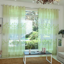 Green flower printed sheer curtains for window 3d rustic window curtain bed room cortinas para sala de luxo 2016