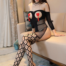 Buy Fishnet Open Bust Bowknot Sexy Hot Erotic Sleeved Bodystocking Lingerie Babydoll Teddy Stripper Lenceria Porn Latex Catsuit
