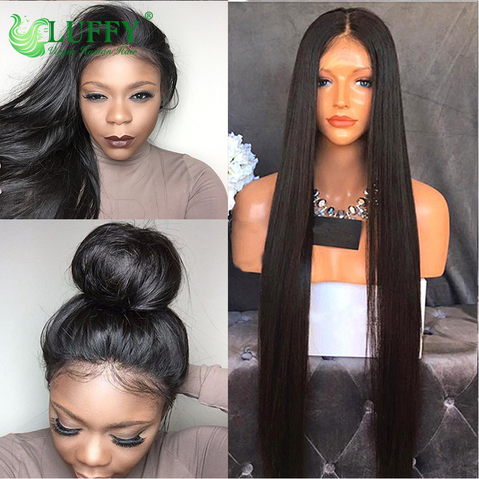 Luffy Long Silky Straight Human Hair Wigs For Black Woemn Virgin Brazilian Hair Full Lace Front Wigs Human Hair With Baby Hair<br><br>Aliexpress