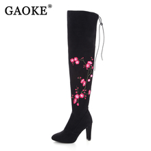 Embroidery Flower Boots Winter Boots Fashion Lady High Heel Warm Boots Embroidered Women Over The Knee Long Snow Boots With Lace(China)