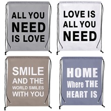 4Pcs Creative Love Letters Print Custom Outdoor Beach Gym Swimming Clothing Shoes Towel Storage Bag Drawstring Backpack
