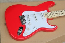 Factory left hand headstock right handed body red stratocaster maple fretboard 6 string Electric Guitar