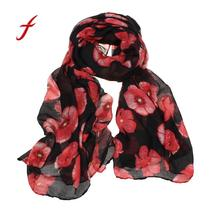 Feitong winter scarves for women high quality warm poncho New Red Poppy Print Long Scarf Flower Beach Wrap Ladies Stole Shawl(China)