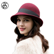 FS Women Winter 100% Australia Wool Felt Hat Ribbon Bow Fedora Cloche Caps Nobility Church Hats For Elegant Ladies Black